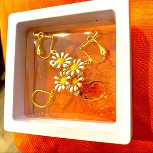 Delicate Handmade daisy earrings in clip or clasp